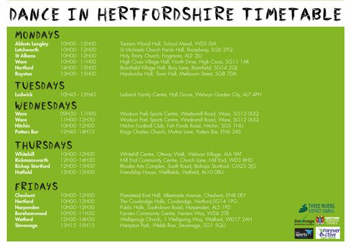 Over50s - Dance in Hertfordshire Timetable
