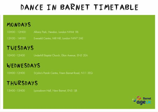Over50s - Dance in Barnet Timetable