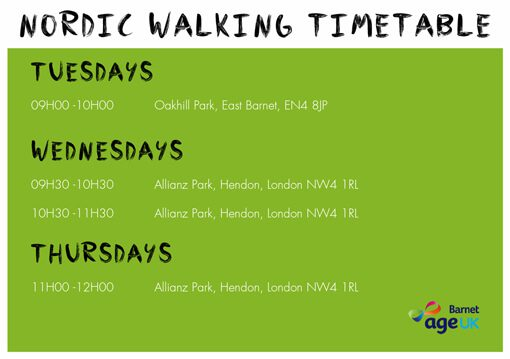 Over50s - Nordic Walking Timetable